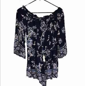 Angie blue floral off shoulder long sleeve romper